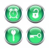 Set of buttons for web, keys, padlock, watch. — Stock vektor