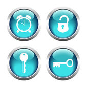 Set of buttons for web, keys, padlock, watch. — Stock Vector