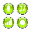 Set of buttons for web, microphone, music, record the sound level. — Stock Vector #64987021