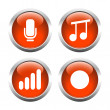 Set of buttons for web, microphone, music, record the sound level. — Stock Vector #64987037