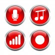 Set of buttons for web, microphone, music, record the sound level. — Stock Vector #64987065