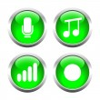 Set of buttons for web, microphone, music, record the sound level. — Stock Vector #64987073