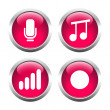 Set of buttons for web, microphone, music, record the sound level. — Stock Vector #64987089