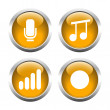 Set of buttons for web, microphone, music, record the sound level. — Stock Vector #64987109