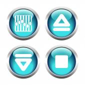 Set of buttons for web, arrow, equalizer, eject. — Vettoriale Stock