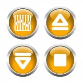 Set of buttons for web, arrow, equalizer, eject. — Stock Vector