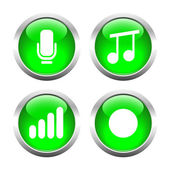 Set of buttons for web, microphone, music, record the sound level. — Stock Vector