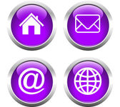 Set of buttons for web, home, email, envelope, globe. — Stock Vector