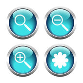 Set of buttons for web, magnifier, asterisk. — Stock Vector