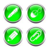 Set of buttons for web, pencil, pen, paper clip, the camera. — Vector de stock