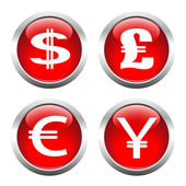 Set of buttons for web, currency symbols, dollar, euro, pound, y — Stock Vector
