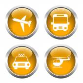 Set of colored buttons for web, airplane, helicopter, taxi, bus. — Stock Vector