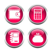 Set of colored buttons for web, wallet, purse, notebook, calcula — Stock Vector