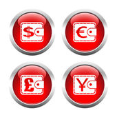 Set of colored buttons for web, purses currency. — Stock Vector