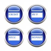 Set of colored buttons for web, plastic cards. — Stock Vector