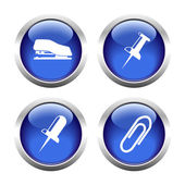 Set of colored buttons for web, stapler, clip, pin. — Stock Vector