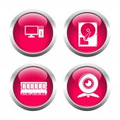 Set of colored buttons for web, computer, memory, webcam, hard d — Stock Vector