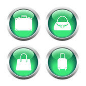 Set of colored buttons for web, bags and suitcase. — Stock Vector