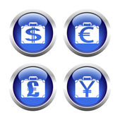 Set of colored buttons for web, suitcases with currency. — Stock Vector