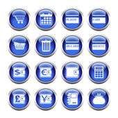Set of buttons for web, shopping, currency, purses. — Stock Vector