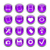 Set of buttons for web, tablet, smartphone. tools, camera, USB f — Stock Vector