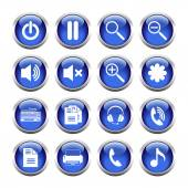 Set of buttons for web, media, zoom, headset, printer. — 图库矢量图片