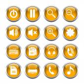 Set of buttons for web, media, zoom, headset, printer. — Stock Vector