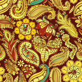Vintage floral motif ethnic seamless background. — Stockvektor