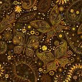 蝶とビンテージのシームレスな花モチーフの背景. — ストックベクタ
