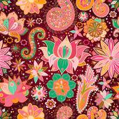 Vintage floral motief etnische naadloze achtergrond. — Stockvector