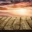 Woode tabletop with sunset — Stock Photo #63239083