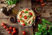 Pasta and tomato soup — Stock Photo