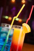 Two exotic cocktails in cafe — Stock Photo
