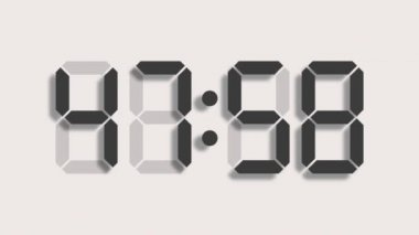 Digital clock countdown from sixty to zero - full HD - LCD display - grey numbers over a clear background and with a light shadow — Stock Video