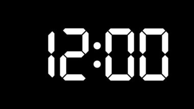 Digital clock count from zero to sixty - full HD - LCD display - white numbers over a black background — Stock Video