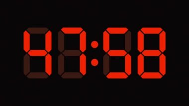 Digital clock countdown from sixty to zero - full HD - LED display - orange numbers — Stock Video