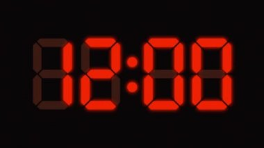 Digital clock count from zero to sixty - full HD - LED display - orange numbers — Stock Video