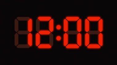Relógio digital de contagem de zero a sessenta - números de full hd - display led - laranja — Vídeo stock