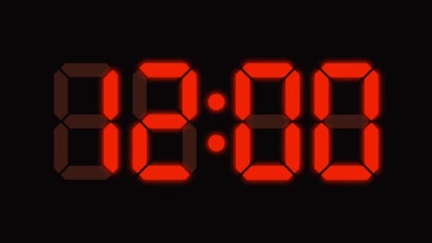 Reloj digital cuenta de cero a sesenta - números completos hd - pantalla led - naranja — Vídeo de stock