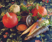 Pumpkins, carrots, seeds, butternut squash and herbs - Still life composition with seasonal vegetables of autumn — Foto de Stock