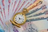 UAE Dirhams with Golden Antique Watch — Stock Photo