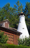 Detail of a White Chimney of a Traditional Cottage in the Pyrene — Stock Photo