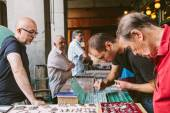 People at the Collectible Market of Stamps and Coins in Plaza Ma — Stock Photo