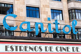 Luminous Sign of the Famous Capitol Cinema in Madrid — Stock Photo