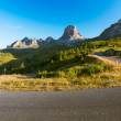 Bend at Passo Giau early morning, Dolomites, Alps, Italy — Stock Photo #53641729