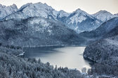 Schwansee at wintertime, Bavarian Alps, Germany — Stock Photo