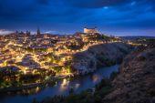 Toledo after sunset, Castile-La Mancha, Spain — Stock Photo