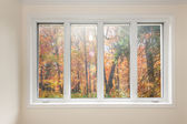 Window with view of autumn forest — Stock Photo