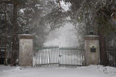 Old driveway gate in winter — Stock Photo