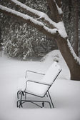 Snow covered bench — Stock Photo